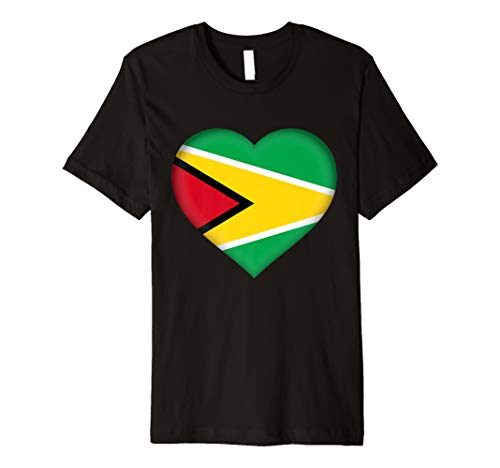 I Love Guyana T-Shirt | Guyanese Flag Heart Outfit (Country Girl Heart T-shirt)