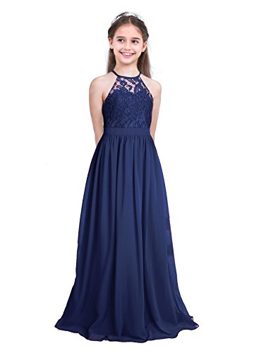MSemis Girls' Princess Halter Neck Floor-Length Lace Chiffon A-Line Junior Bridesmaid Dress Navy Blue 14