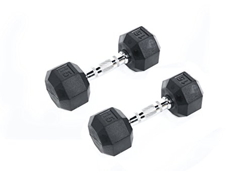 Ader Octagon Deluxe Professional Rubber Dumbbell, Pair