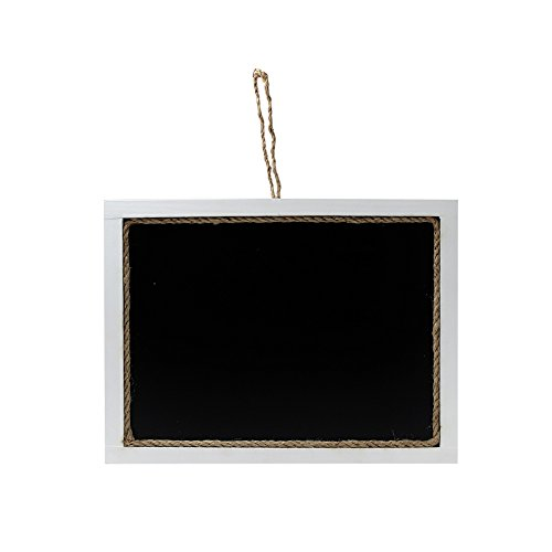 SULIT White Hanging Chalkboard, Erasable Wood Frame Sign with Decorative Jute - Sign Hanging Frame