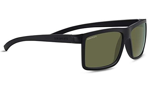 Serengeti Brera Large Sunglasses Sanded Black/Satin Black, Green