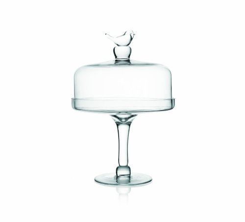 Fifth Avenue Crystal Little Birds Pedestal Plate with Dome, Clear