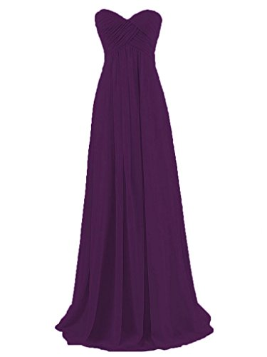Dama JAEDEN Honor Vestidos de de de Gasa Tirantes Plisada de Uva Larga Baile Sin Noche Vestido de vwrw7tq