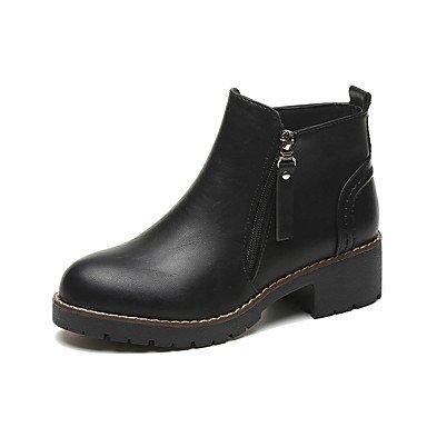 AIURBAG Mujer Zapatos PU Otoño Invierno Botas hasta el Tobillo Botas Dedo redondo Botines/Hasta el Tobillo Cremallera Para Casual Negro Marrón green