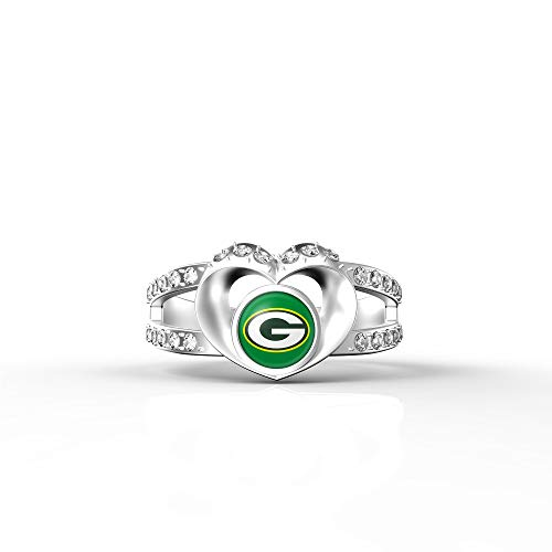 MT-Sports store NFL Heart Shaped Lady Ring Lady Exquisite Heart Shaped Ring(8S.Green Bay Packers) (Womens Packer Ring)