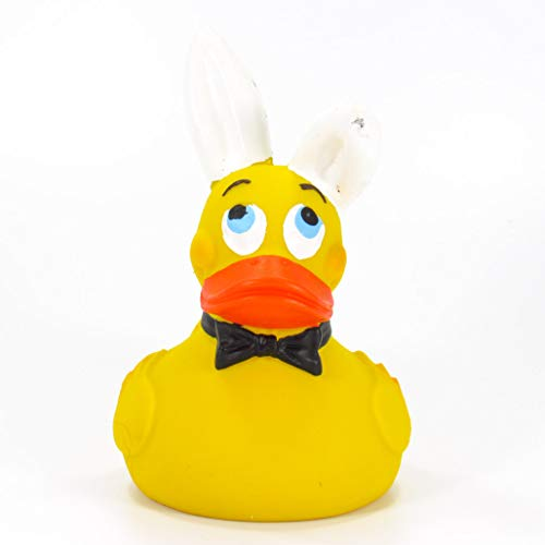 Bunny Easter Playboy Rubber Duck Bath Toy   All Natural, Organic, Eco Friendly, Squeaker   Lanco Brand   Imported from Barcelona, Spain