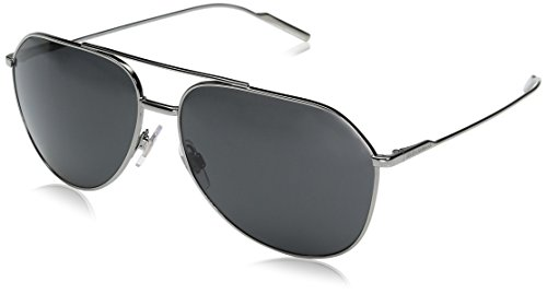 Dolce & Gabbana Men's Metal Man Aviator Sunglasses, Gunmetal, 61 - Sunglasses Branded