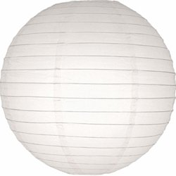 Paper Lantern, Round, Even Ribbing, 24 Inch, White