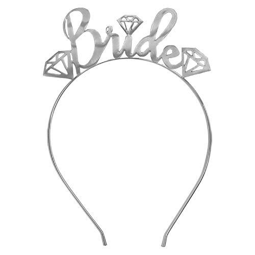 Silver Bride Tiara Headband Wedding - Gem Diamond Bride Silver Headband - Bridal Shower, Bachelorette Party Tiara Headband HdBd(GemBride) SLV