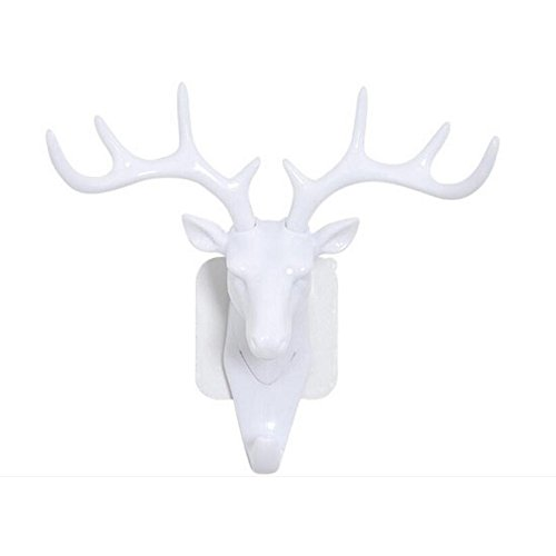 Gosedy American Style Household Wall Decor Antlers Multi-purpose Wall Coat Keys Bags Clothes Deer Hook (White)