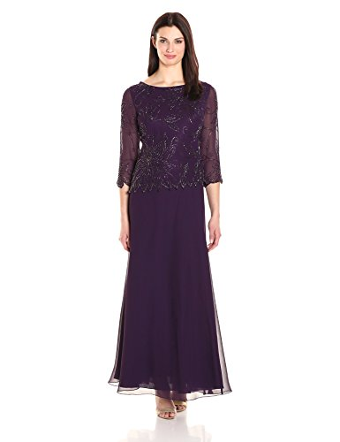 J Kara Women's 3/4 Floral Beaded Pop Over Gown, Plum/Wine/Shaded, 6