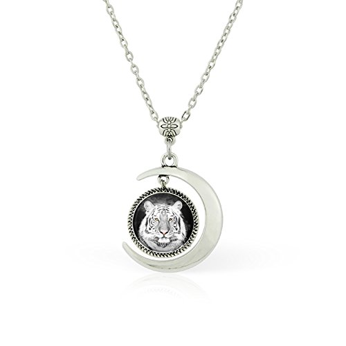 - WUSHIMAOYI Moon pendant necklace White Tiger Pendant Necklace White Tiger jewelry White Tiger necklace gift