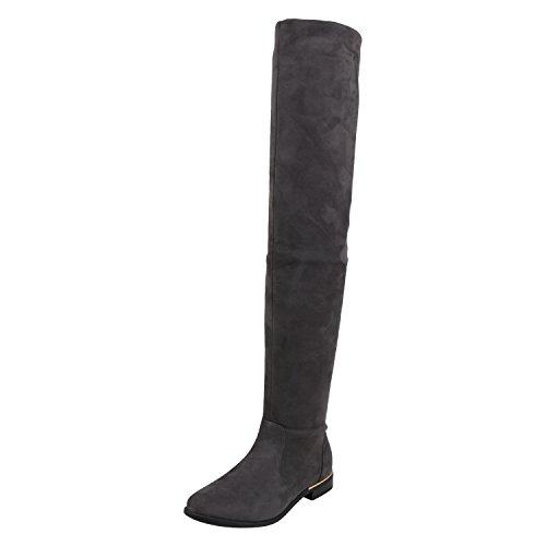 napoli-fashion Damen Overknees Gefütterte Stiefel Veloursleder-Optik Schuhe Elegante Winter Boots Winterschuhe Nieten Winterstiefel Jennika Grau