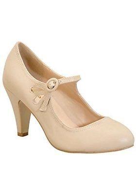 - Chase & Chloe KIMMY-21 Nude Round Toe Pierced Mid Heel Mary Jane Dress Pumps (9)