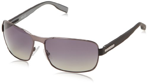 Boss By Hugo Boss Men's B0579PS Rectangular Polarized Sunglasses,Dark Ruthenuim,62 mm