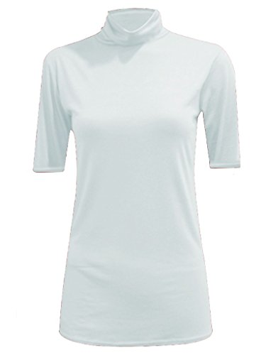 WOMEN POLO TURTLE NECK SHORT SLEEVE LADIES T SHIRT TOP White US 16/18
