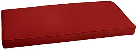 Mozaic AZCS0131 Indoor or Outdoor Sunbrella Bench Cushion with Corded Edges and Tie Backs, 60 inches, Canvas Jockey Red