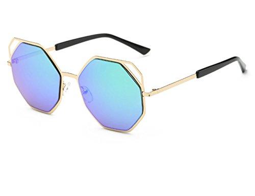 Konalla Fashion Polygon Metal Frane Reflective Sunglasses for Women's - Shell Tortise Sunglasses