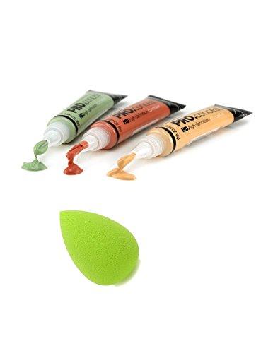 LA-Girl-Pro-Conceal-Set-Orange-Yellow-Green-Correctors-With-Tweezty-Beauty-Makeup-Blender