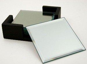 Mirror Coasters - Mirror Set Of 4 Coasters, Square In Black Caddy, 4