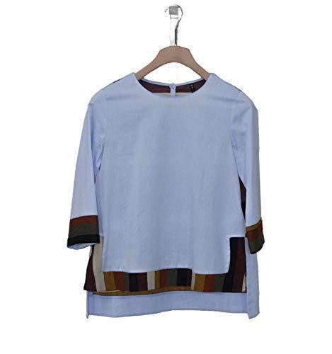 Scollo Chiusura Bottoni Manila Cotone Azur Manica Colore Bordo 3 Grace 2018 Di 4 Posteriore Con Tondo Contrasto Maniche Fw Camicia Donna In Sul Retro E gpvxCgRqw