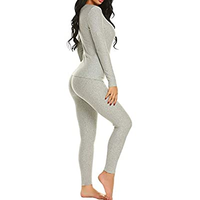 Ekouaer Thermal Underwear Long Fleece Lined Winter Base Layering Set for Women at Women's Clothing store