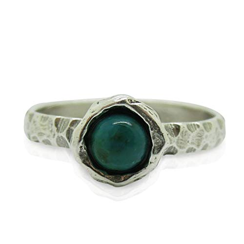 (Eilat stone Chrysocolla ring set in hammered sterling silver, stacking ring )