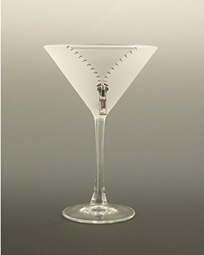 Set of 2 XYZ Silver Zipper Etched Martini Cocktail Drinking Glasses - 7.25 Oz.