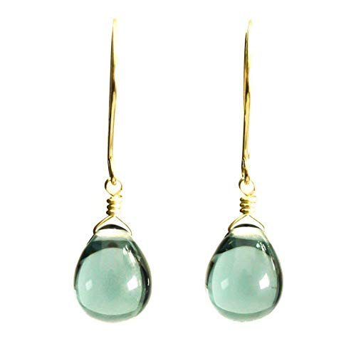 Periwinkle blue glass dangle earrings 14kt yellow gold-filled
