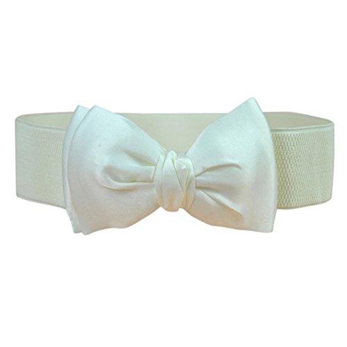 Decoration Bow Rose Girdle Style Elastic Belt Yiwa Beige Chiffion Women's Red 5TxWY8