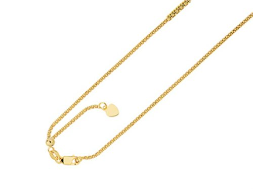 (Finejewelers 14K Yellow Gold 22 Inch bright Adjustable Popcorn Chain Necklace Lobster Clasp Heart Charm)