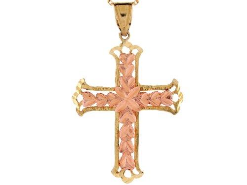14ct Or Jaune Et Rose Pendentif Croix Religieuse Coeurs Taille Diamant