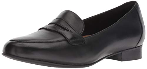 CLARKS Women's Un Blush Go Penny Loafer, Black Leather, 95 M US ()