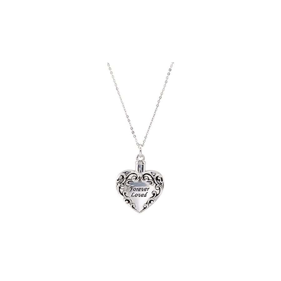 "SVJDirect Sterling Silver Heart Shaped Forever Loved Ash Holder Necklace With 18"" Chain"