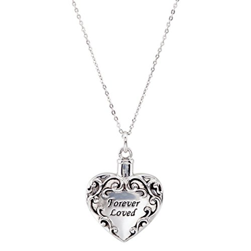 Sterling Silver Heart Shaped Forever Loved Ash Holder Necklace With 18'' Chain by SVJDirect