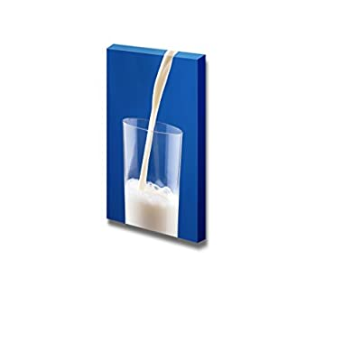Canvas Prints Wall Art - Pouring Milk on Blue Background - 24