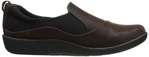 CLARKS Damen CloudSteppers Sillian Paz Slip-On Loafer Dunkelbraunes Synthetisches Nubuk