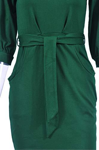 Longwu-Womens-Elegant-Lantern-Sleeve-Short-Sleeve-Wear-to-Work-Casual-Pencil-Dress-with-Belt