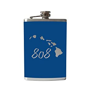 808 Hawaii Flask- 6, 8 Ounce - Custom, Personalized- Many Colors (8 Ounce, Dark Blue - Matte)
