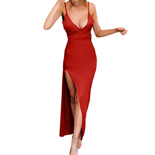 Mysky Women Popular Sexy Plunging V-Neck Backless Sleeveless Tight Pure Split Bodycon Club Prom Party Long Dress Red