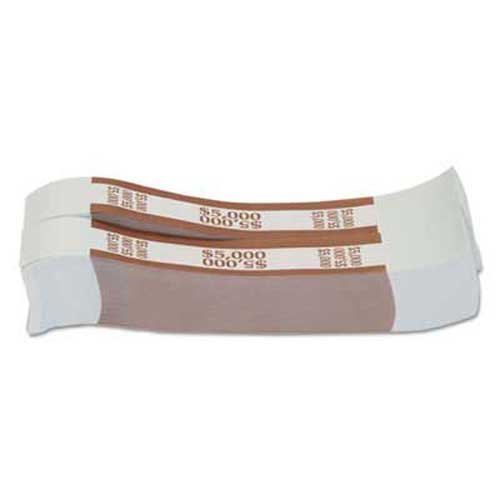 Coin-Tainer Currency Straps, Brown, $5,000 in $50 Bills, 1000 Bands/Pack