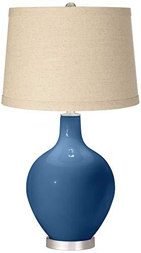 Regatta Blue Oatmeal Linen Shade OVO Table Lamp - Color + Plus ()