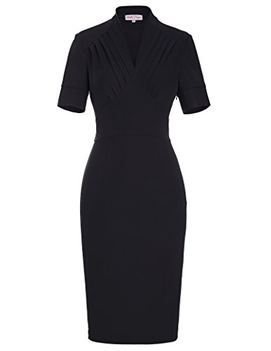 Belle-Poque-Women-50s-Bodycon-Dress-Slim-Fit-Vintage-Pencil-Dress-BP106146