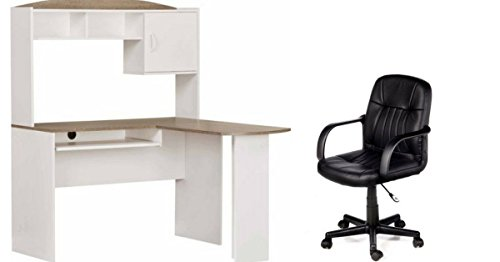 Leather Oak Desk (Mainstays L-Shaped Desk with Hutch perfect for your home office, White/Oak Finish Desk with Black Leather Office Chair Bundle Set)