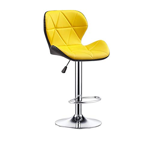 XUERUI Swivel Stool Chair Bar Chair Office Medical Work Barbershop Front Desk Adjustable Height Backrest Leather Footrest (Color : Yellow) -