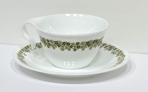 - Corelle Spring Blossom / Crazy Daisy Hook Coffee Cup w/ Saucer Corning Ware