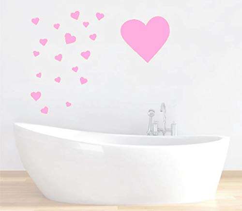 - Removable Baby Pink Hearts Wall Decals for Kids Room Decoration +