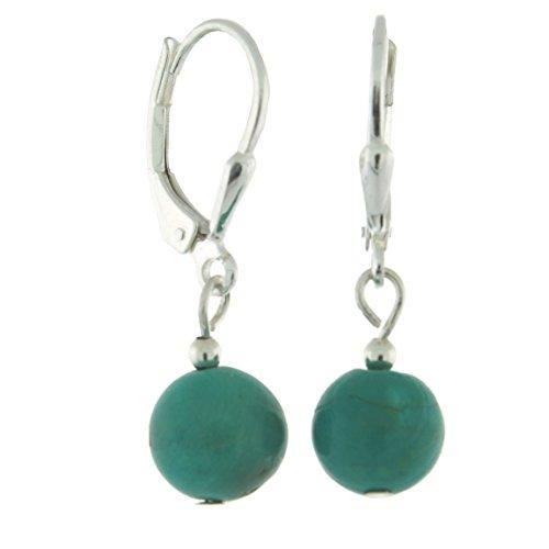 (Sterlig Silver 8mm Gemstone Bead Dangle Lever Back Earrings, Turquoise)