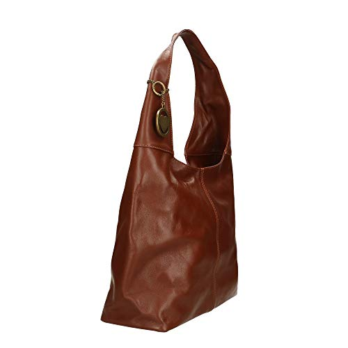 Chicca Marrón En 41x55x12 Borse Italy Genuina Bolsa Made Cm In Piel De Hombro fS74fnqr