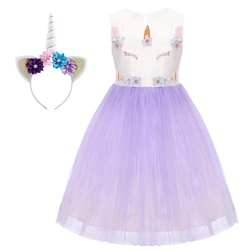 Unicorn Flower Girl Dress up Costume Princess Dresses Gown Ruffle Tulle Skirt Horn Headband Birthday Tutu Outfit Kids Party Pageant Halloween Fancy Dress Photo Prop Cosplay 2Pcs Set Light Purple 18M -